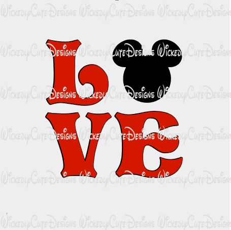 Mickey Love SVG, DXF, EPS, PNG Digital File