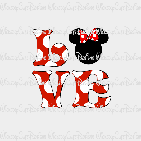 Minnie Love SVG, DXF, EPS, PNG Digital File