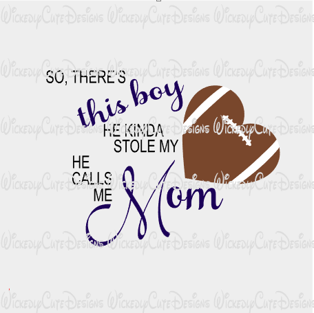 Mom Football Heart SVG, DXF, EPS, PNG Digital File