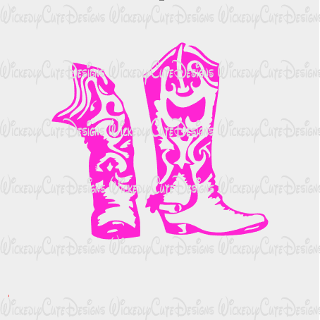 Pink Cowgirl Boots SVG, DXF, EPS, PNG Digital File