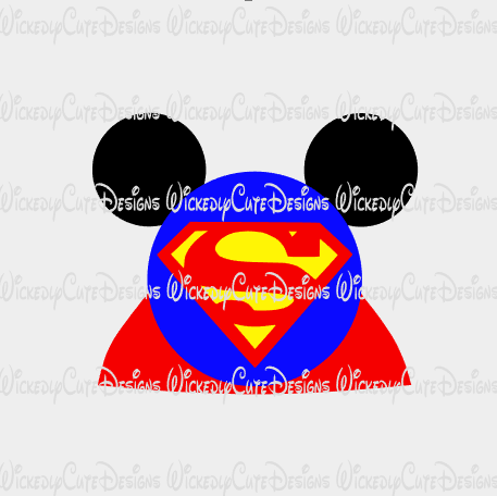 Superman Mouse Head SVG, DXF, EPS, PNG Digital File