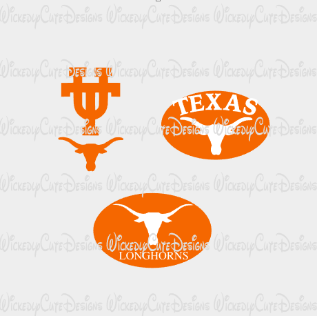Texas Longhorns Logos Set of 3 SVG, DXF, EPS, PNG Digital File