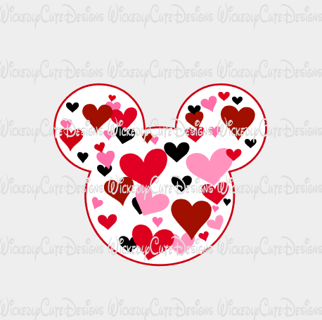 Valentine Boy Mouse Head SVG, DXF, EPS, PNG Digital File
