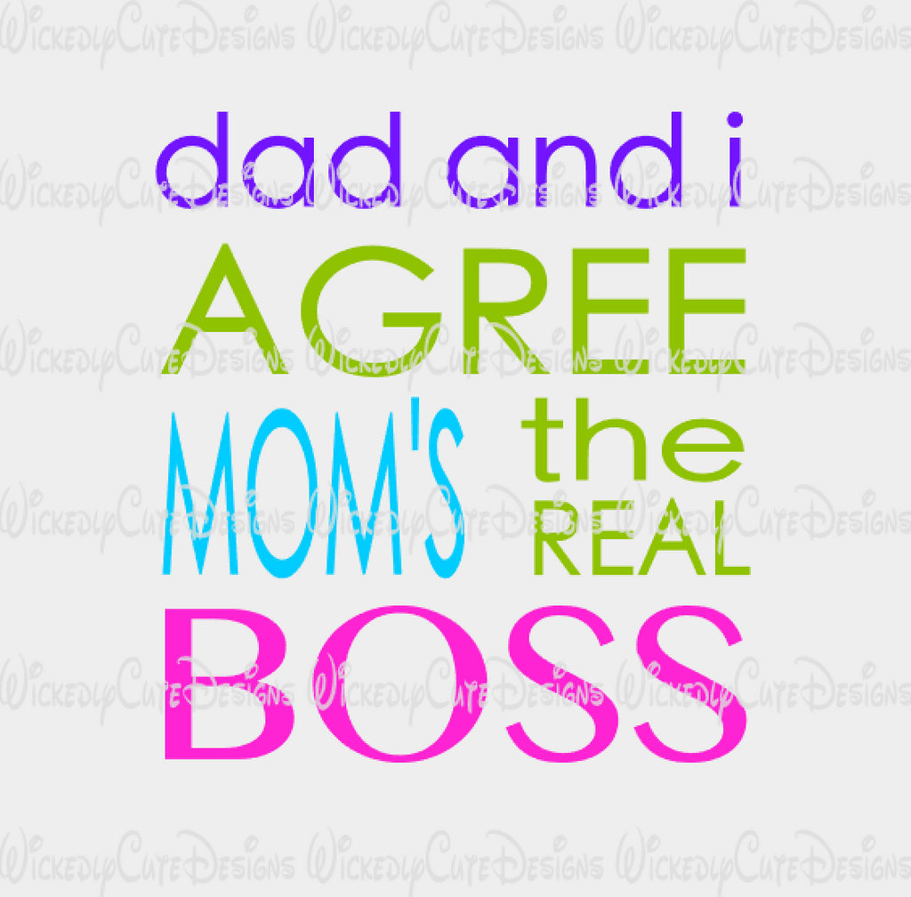 Mom is the Boss SVG, DXF, EPS, PNG Digital File