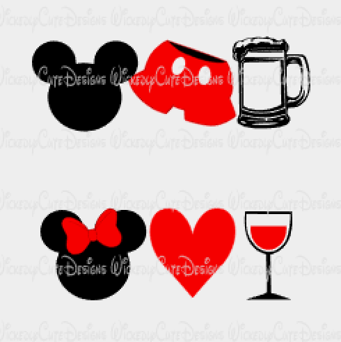 Mickey and Minnie Food and Wine SVG, DXF, EPS, PNG Digital File