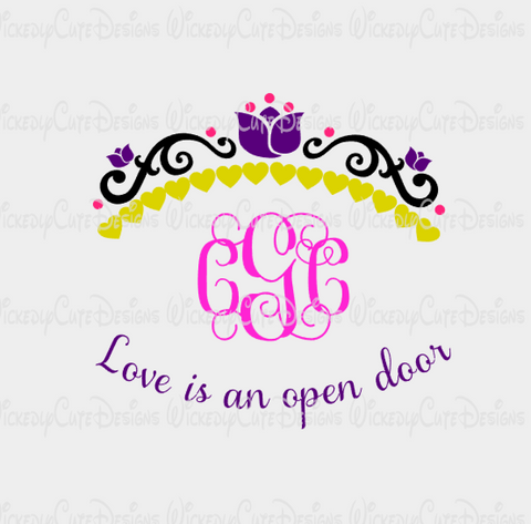 Anna Crown Monogram Frame SVG, DXF, EPS, PNG Digital File
