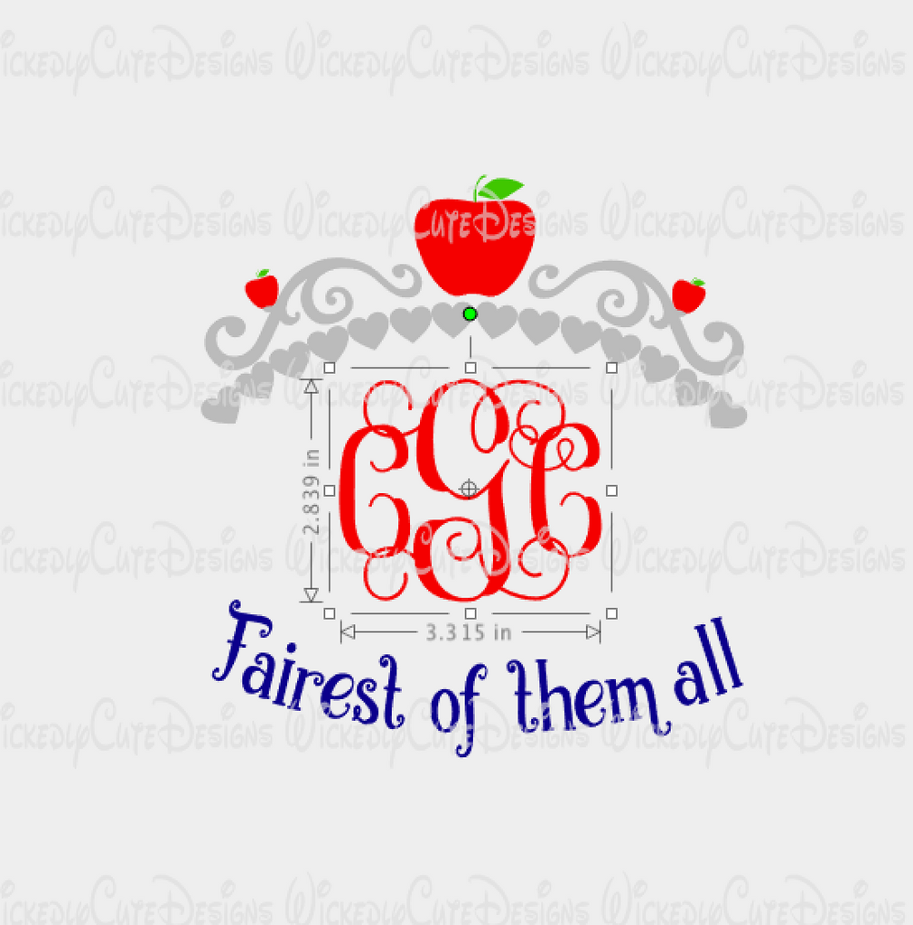 Snow White Crown Monogram Frame SVG, DXF, EPS, PNG Digital File