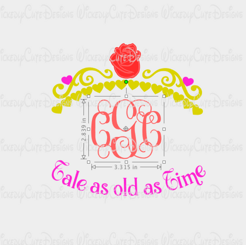 Belle Crown Monogram Frame SVG, DXF, EPS, PNG Digital File