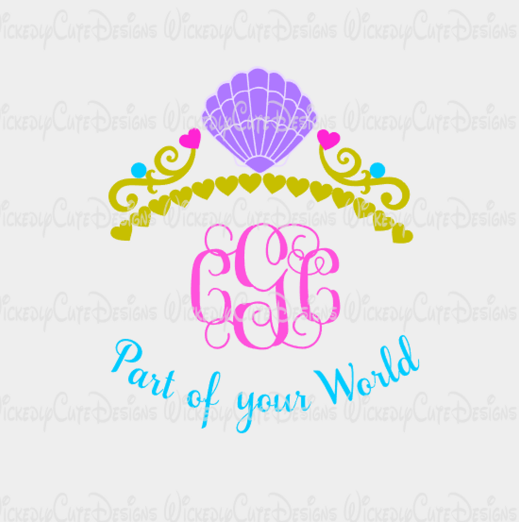 Ariel Crown Monogram Frame SVG, DXF, EPS, PNG Digital File