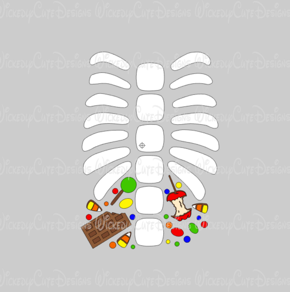 Skeleton Ribs with Candy SVG, DXF, EPS, PNG Digital File