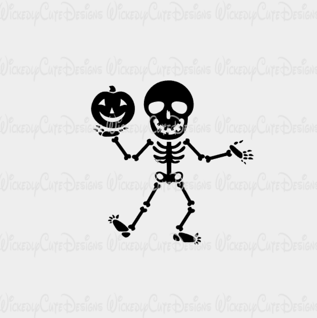 Skeleton with Pumpkin SVG, DXF, EPS, PNG Digital File