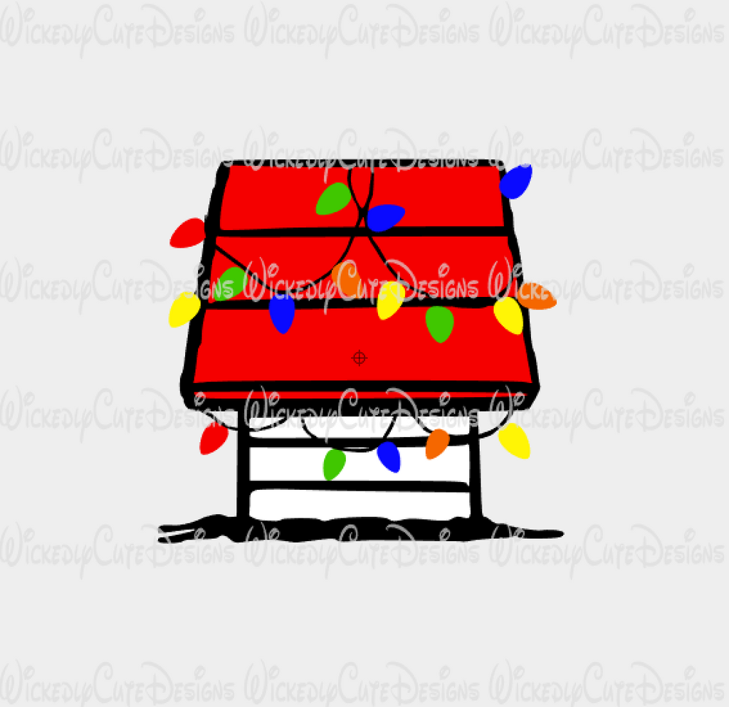 Snoopy Doghouse with Christmas Lights SVG, DXF, EPS, PNG Digital File