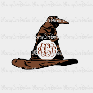 Sorting Hat Monogram Frame SVG, DXF, EPS, PNG Digital File