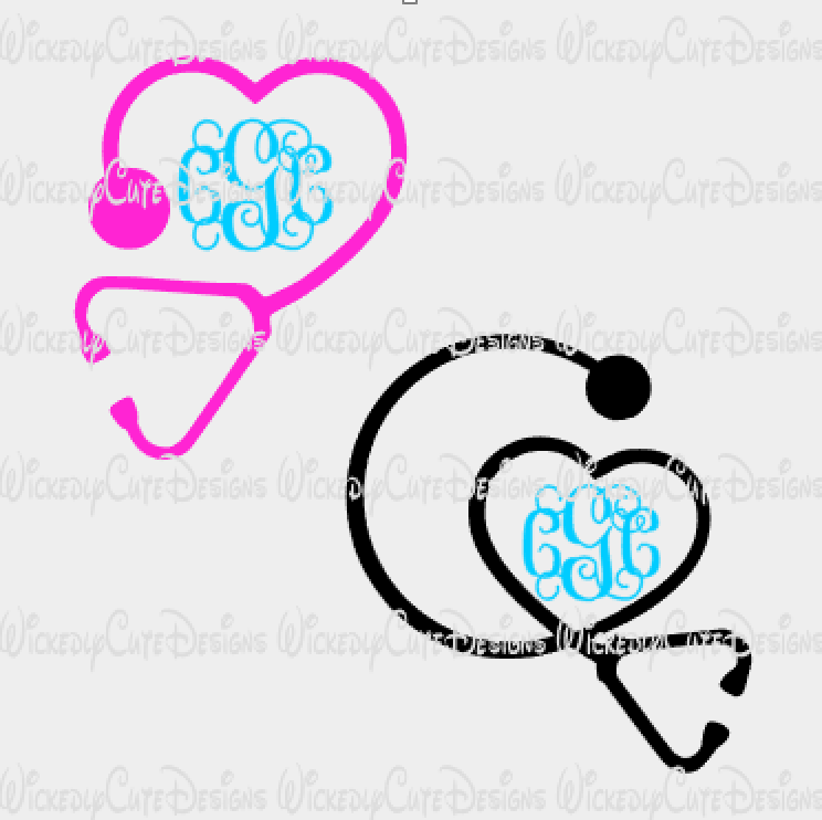 Stethoscope Monogram Frame Set SVG, DXF, EPS, PNG Digital File