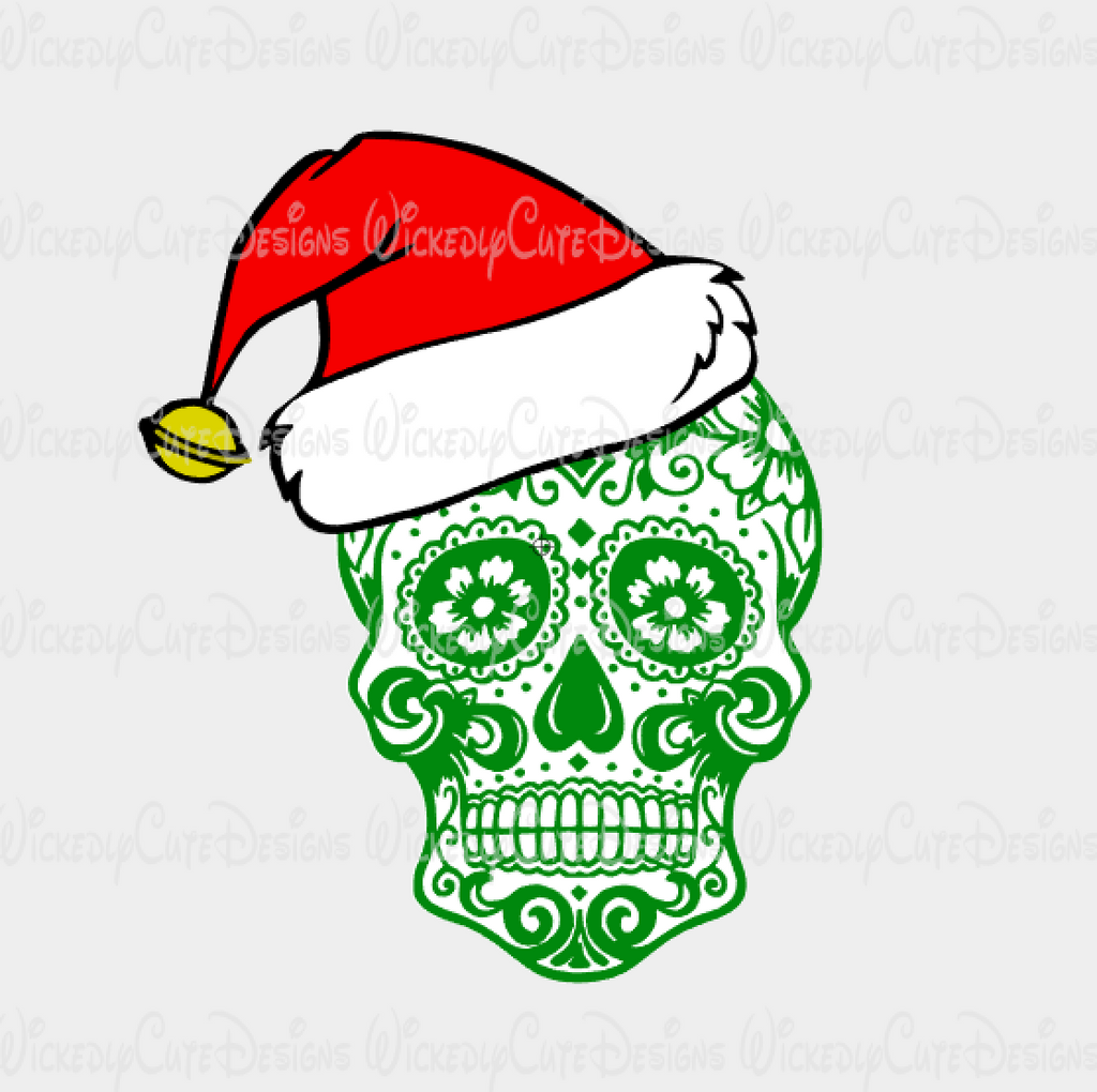 Sugar Skull Santa SVG, DXF, EPS, PNG Digital File