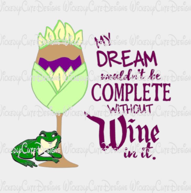 Tiana Wine Glass SVG, DXF, EPS, PNG Digital File