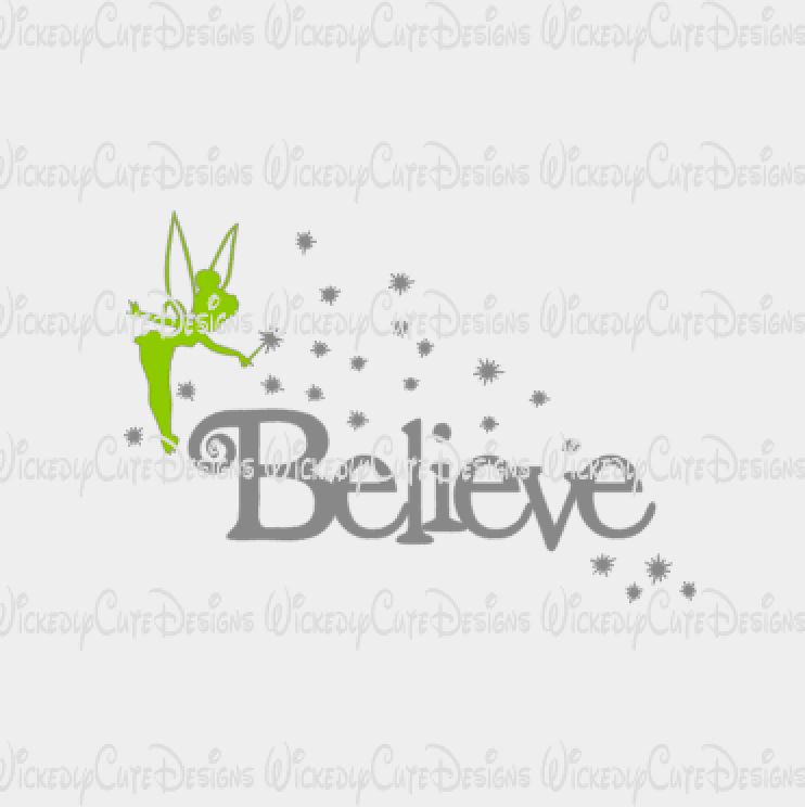 Tinkerbell Believe SVG, DXF, EPS, PNG Digital File