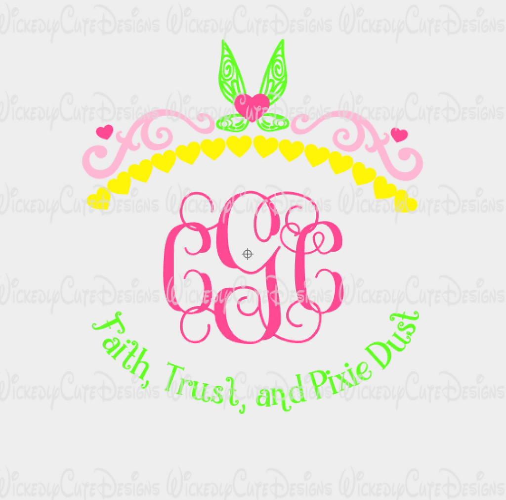 Tinkerbell Crown Monogram Frame SVG, DXF, EPS, PNG Digital File