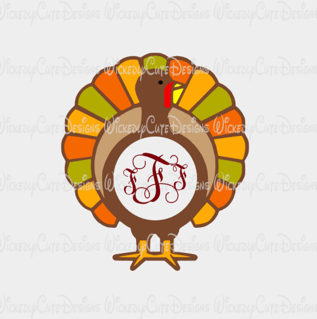 Turkey Monogram Frame SVG, DXF, EPS, PNG Digital File