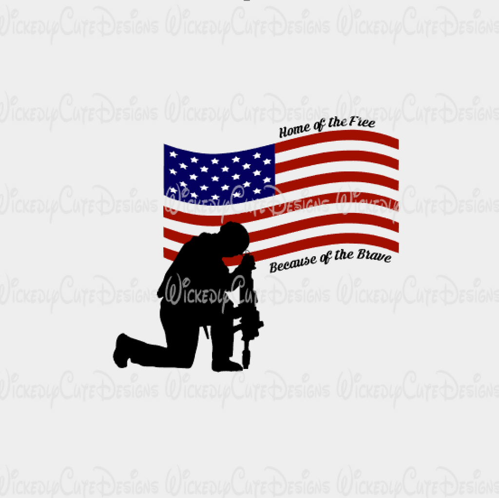 USA Flag and Solider SVG, DXF, EPS, PNG Digital File