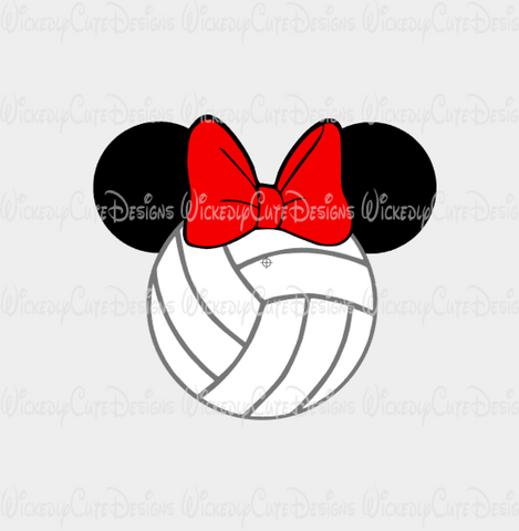 Volleyball Minnie Mouse Head SVG, DXF, EPS, PNG Digital File