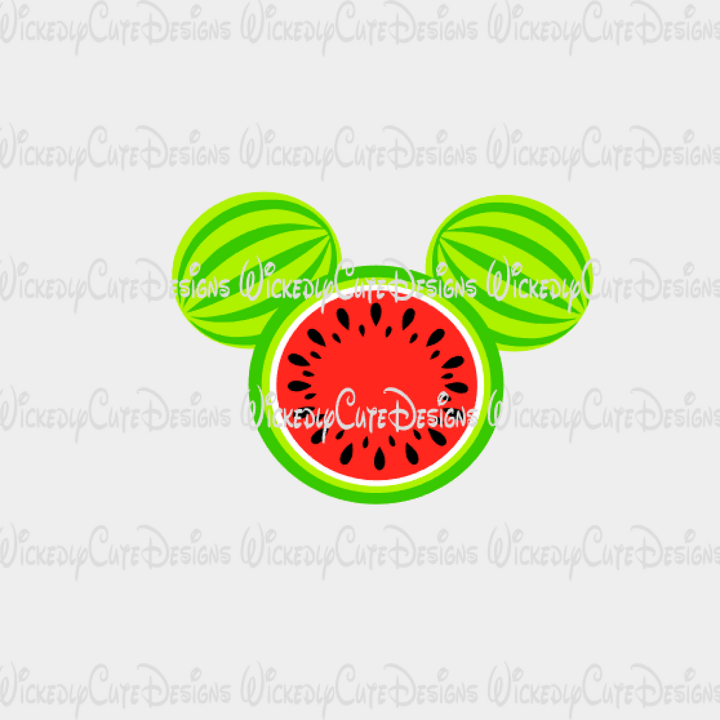 Watermelon Mickey Mouse Head SVG, DXF, EPS, PNG Digital File
