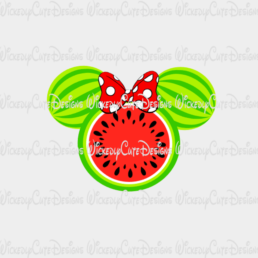 Watermelon Minnie Mouse Head SVG, DXF, EPS, PNG Digital File