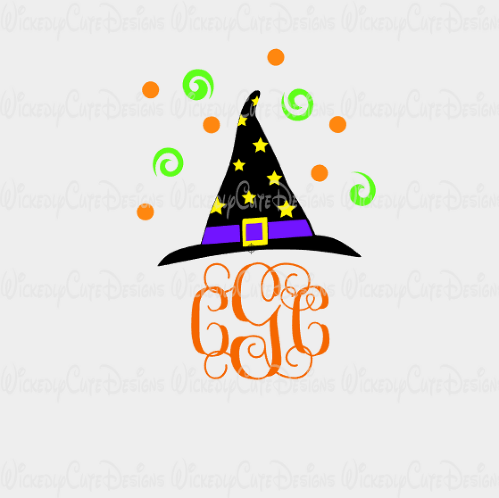 Witch Hat with Swirls Monogram Frame SVG, DXF, EPS, PNG Digital File