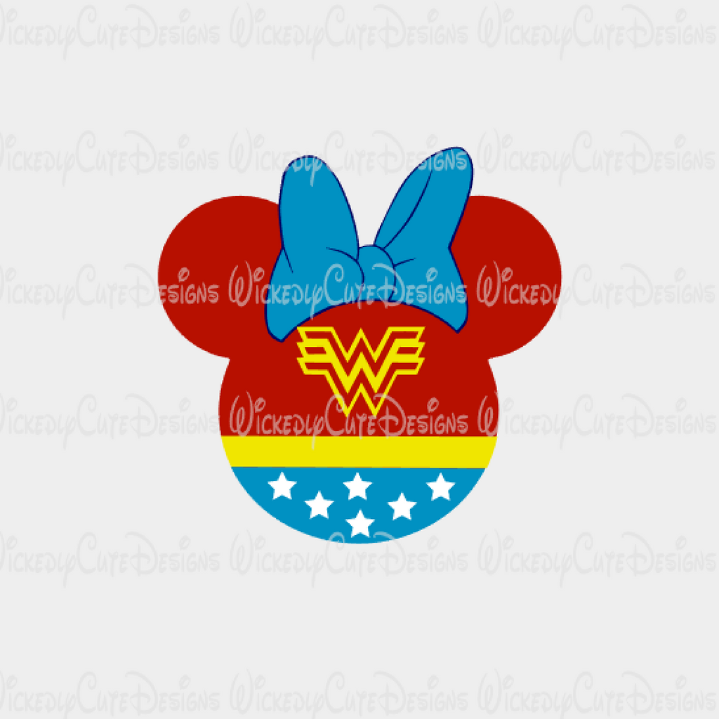 Wonder Woman Mouse Head SVG, DXF, EPS, PNG Digital File