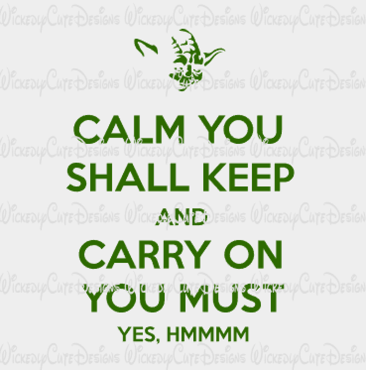 Yoda Calm You Shall keep SVG, DXF, EPS, PNG Digital File