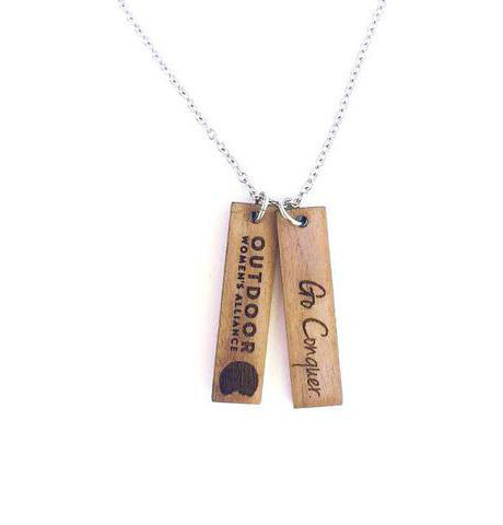 Go Conquer Wood + Steel Necklace