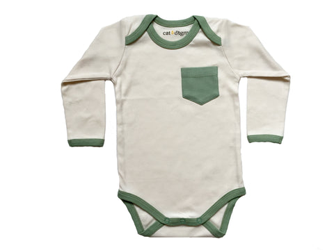 Long Sleeve Onesie | Natural & Sage