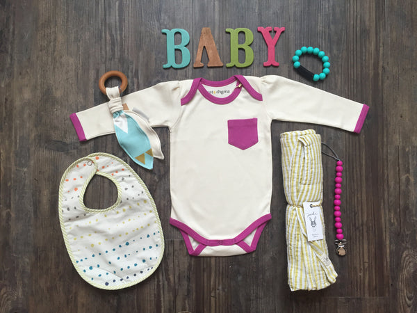 Long Sleeve Onesie | Natural & Orchid