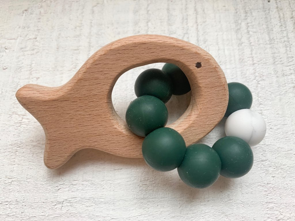 Fishie Teether | Forest Green