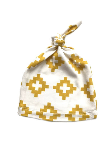 Organic Knotted Newborn Beanie | Yellow Triangle