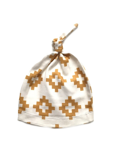 Organic Knotted Newborn Beanie | Gold Triangle