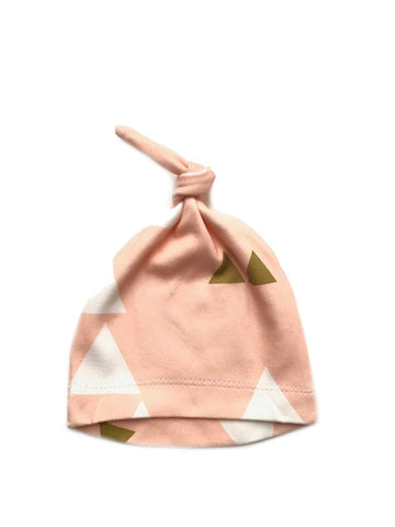 Organic Knotted Newborn Beanie | Pink Triangle