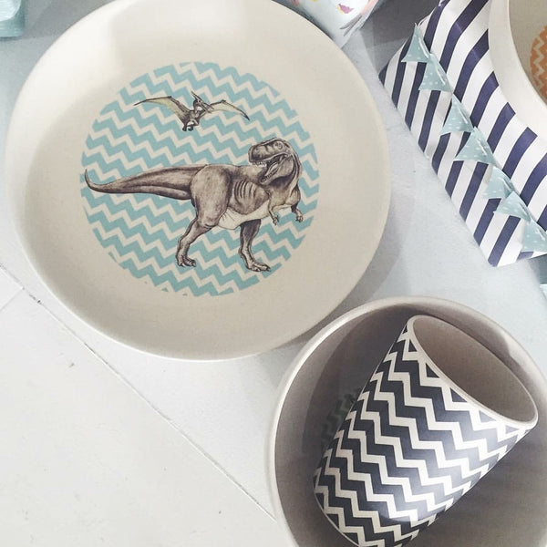 4 Piece Bamboo Dinner Set | T-Rex Supper