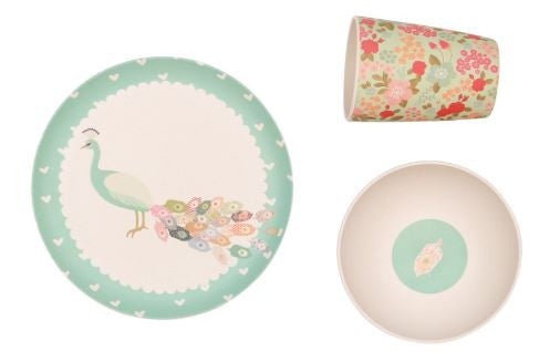 Bamboo 3 Piece Dinner Set | Peacock
