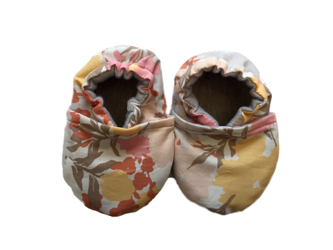 Baby Moccasins | Pink-Yellow-Orange Floral