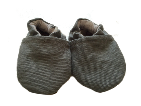 Baby Moccasins | Grey Canvas