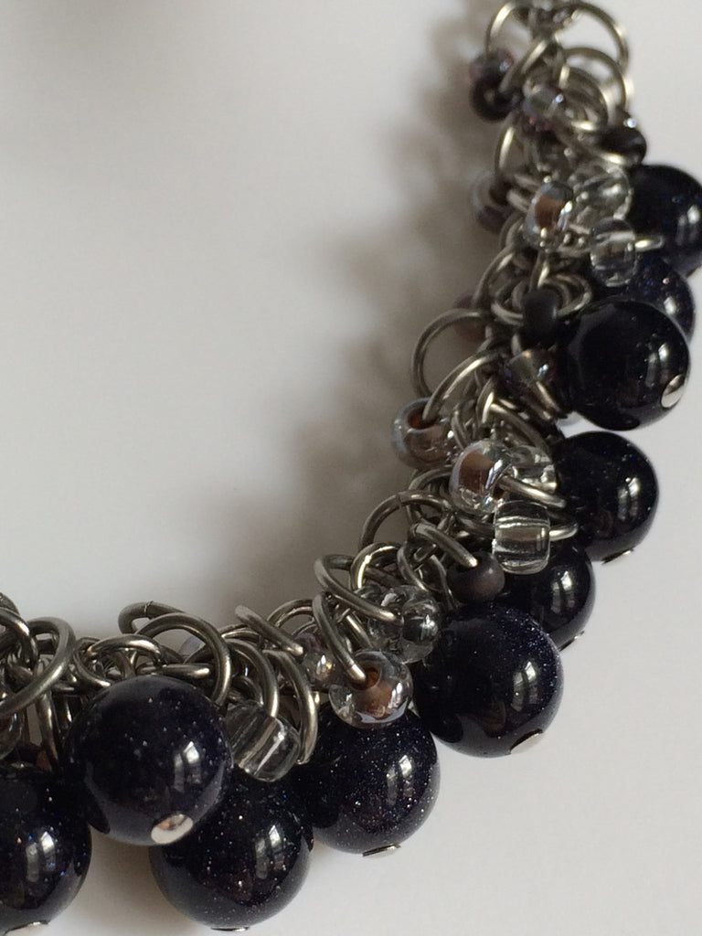 Blue Goldstone Clusters Necklace