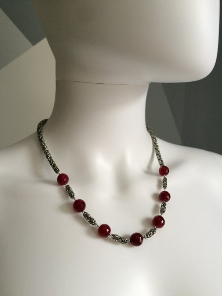 Byzantine Necklace with Pink Agate