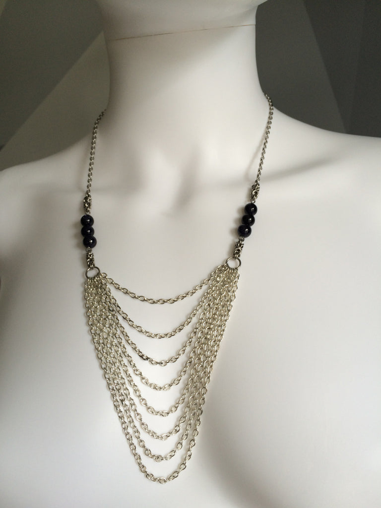 Draped Chains with Blue Goldstone Rounds