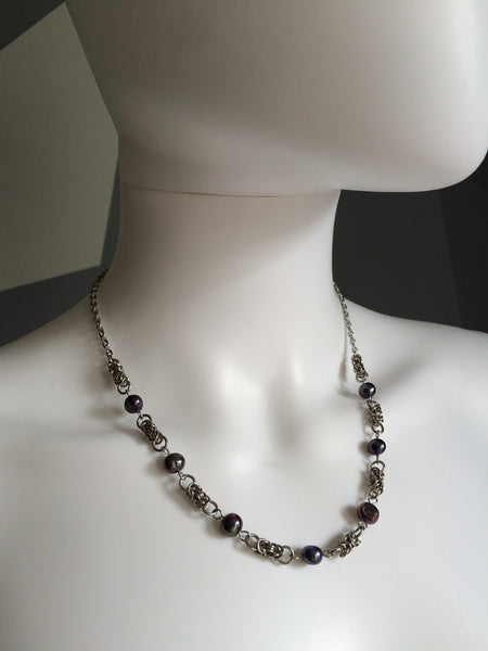 Stainless Steel Necklace with Freshwater Pearls