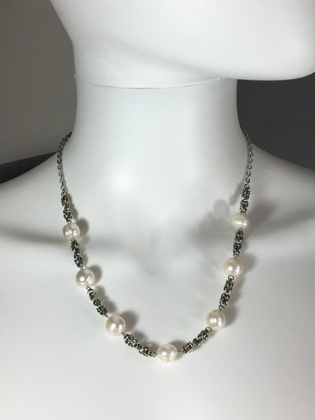 Stainless Steel Necklace with White Freshwater Pearls