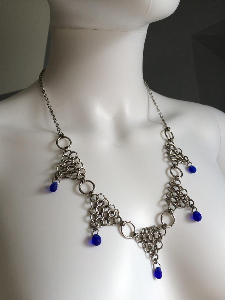 Stainless Steel Triangles with Cobalt Drops