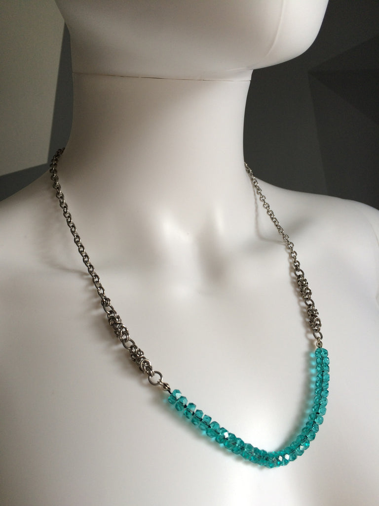 Turquoise Crystal Rondelle Necklace