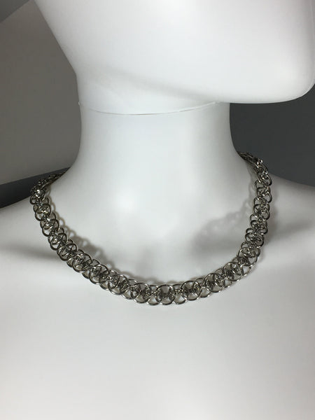 Woven Chains Stainless Steel Statement Necklace