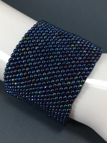 Blue Iris Glass Bead and Chainmail Cuff Bracelet
